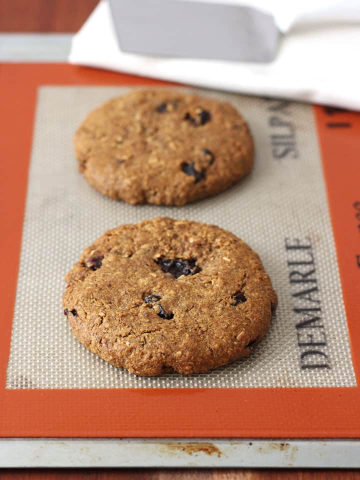 Bakery style Whole Grain Soft Oatmeal Raisin Cookies For Two. Bake up two chewy wholesome oatmeal cookies in just 15 minutes!