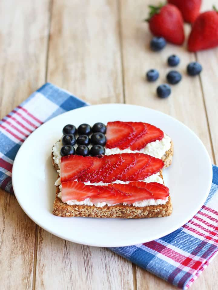 Berry Flag Toast. Start your morning with a healthy breakfast of whole grain bread topped with lemony ricotta cheese and juicy fresh berries. Perfect for kicking off any patriotic holiday!