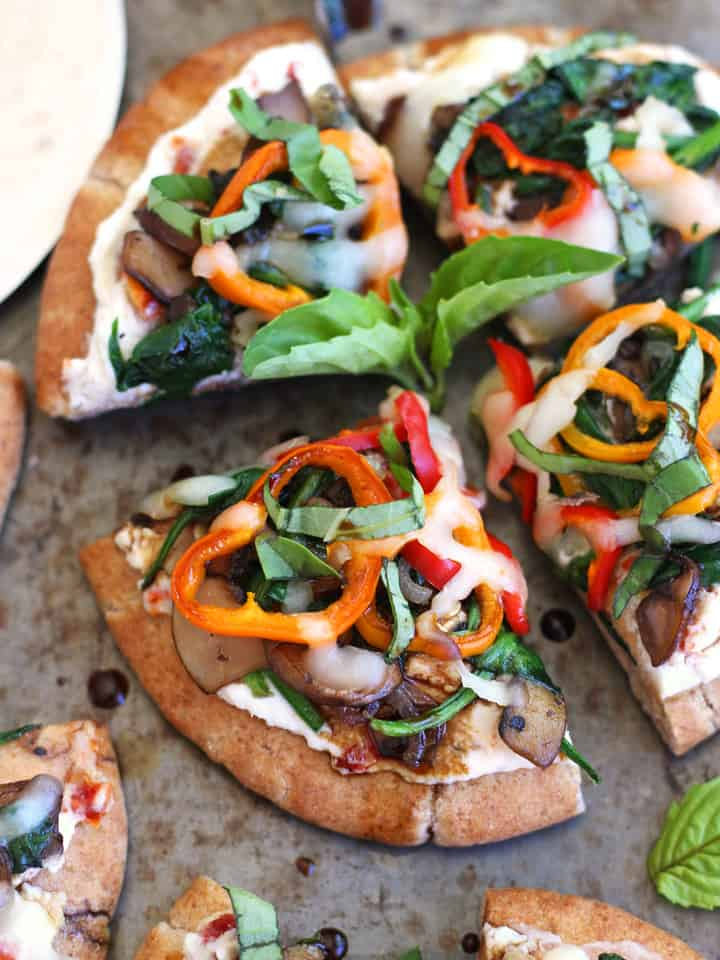 Healthy Toaster Oven Appetizers: Veggie Pita Pizza Bites