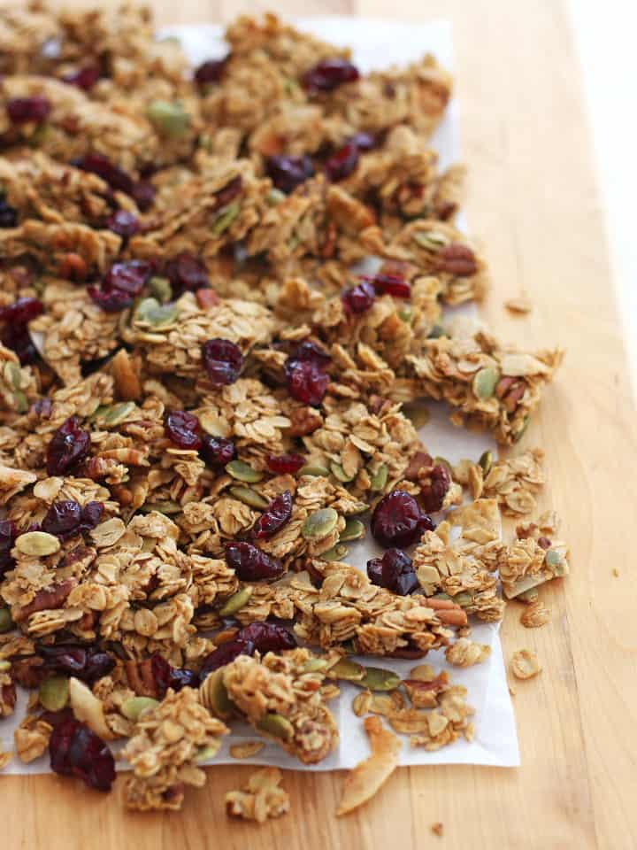 No-Stir Toaster Oven Granola. Easily make fresh granola in your toaster oven with this simple small batch recipe. Made with maple syrup, chopped pecans, pumpkin seeds, flaked coconut, dried cranberries and lots of oats.