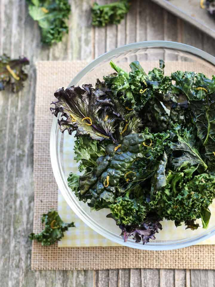 A simple tutorial for Toaster Oven Kale Chips. Satisfy your crispy salty snack cravings in a healthy way with this single serving recipe.