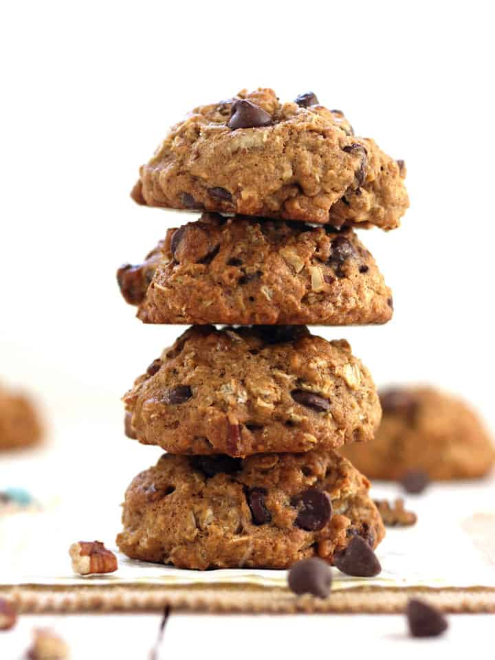 Chip Pecan Oatmeal Cookies, a super satisfying toaster oven cookie ...