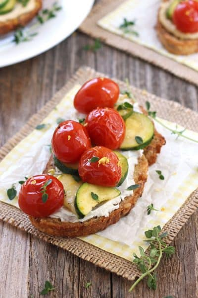 Roasted Zucchini and Tomatoes Crostini