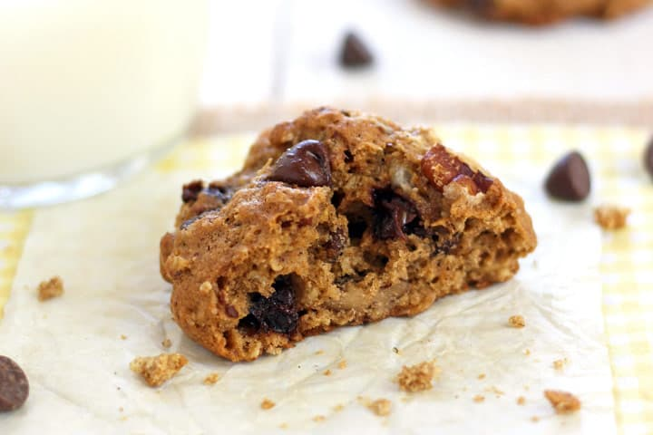 Chocolate Chip Pecan Oatmeal Cookies, a super satisfying toaster oven cookie recipe made with whole grains, rich chocolate chips and toasted pecans.