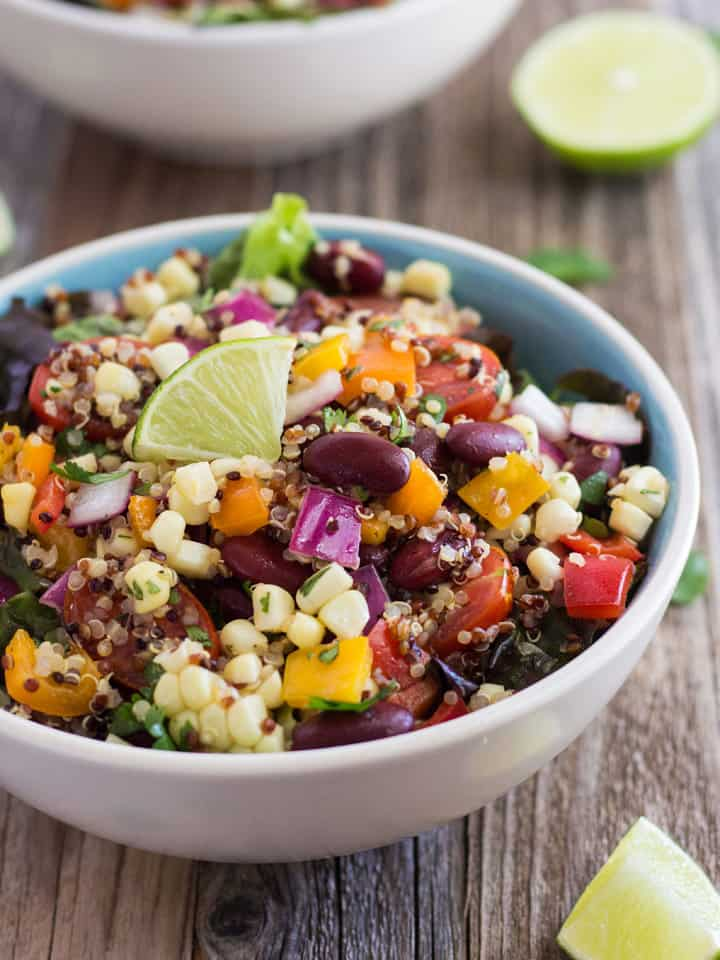 Summer Corn and Quinoa Veggie Salad, a fresh and nutritious summertime meal made with sweet baked corn, crisp veggies, quinoa and kidney beans