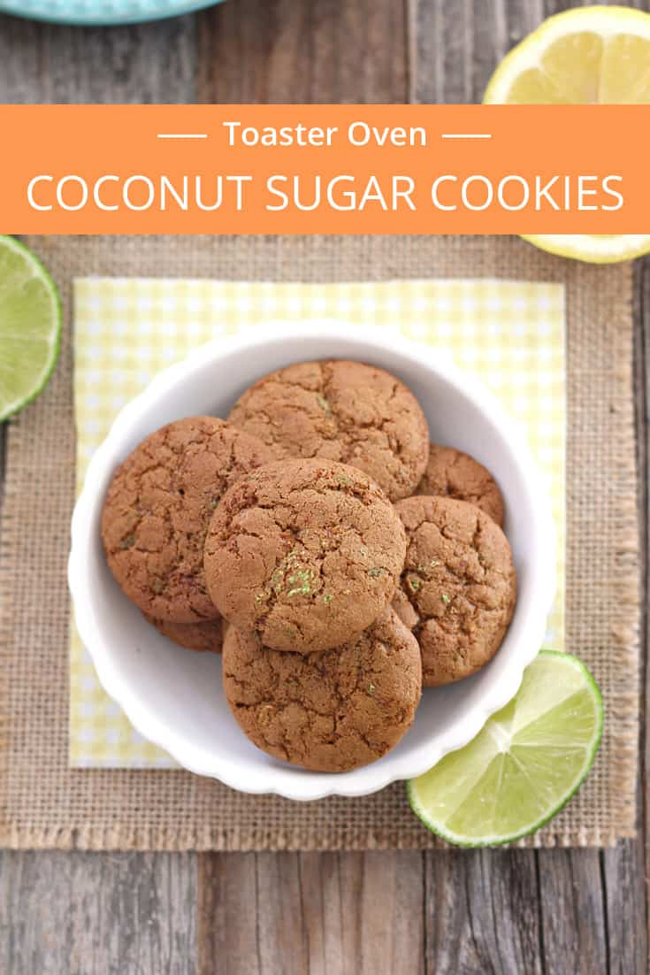 A small batch of mini Lemon Lime Coconut Sugar Cookies you can make in your toaster oven. They're crispy, chewy, full of flavor and smell fantastic.