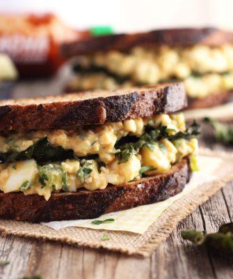 Sriracha Egg Salad Sandwich (With Garlic Kale Chips)