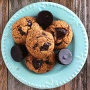 Toaster oven peanut butter cookies are a small batch treat perfect for two people. Made with natural peanut butter and mini dark chocolate peanut butter cup chunks.