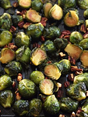 Sweet And Spicy Maple Roasted Brussels Sprouts with Sriracha