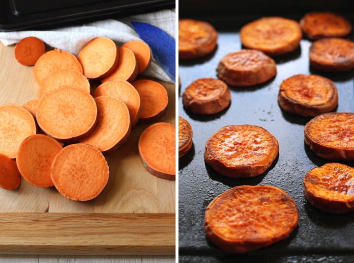 Roasted Sweet Potato Rounds are an easy snack or holiday side dish for two. Sweet potato slices seasoned with coconut oil, salt and cinnamon then roasted to caramelized perfection.