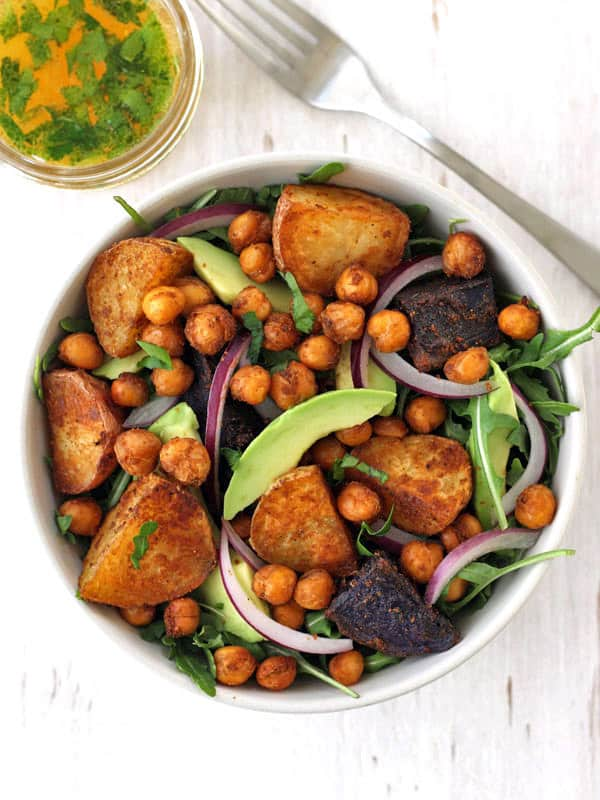 A nutritious dinner that's big on flavor but light on effort. This smoky roasted baby potatoes and chickpea salad is a meal-sized salad guaranteed to fill you up.