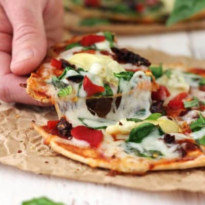 Tortilla Pizzas with Sundried Tomatoes and Spinach (15 Minutes!)