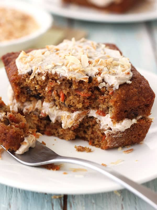 A moist toaster oven carrot cake stuffed with raisins, pecans and pineapple. The rich cinnamon cream cheese frosting and toasted coconut make it extra special.