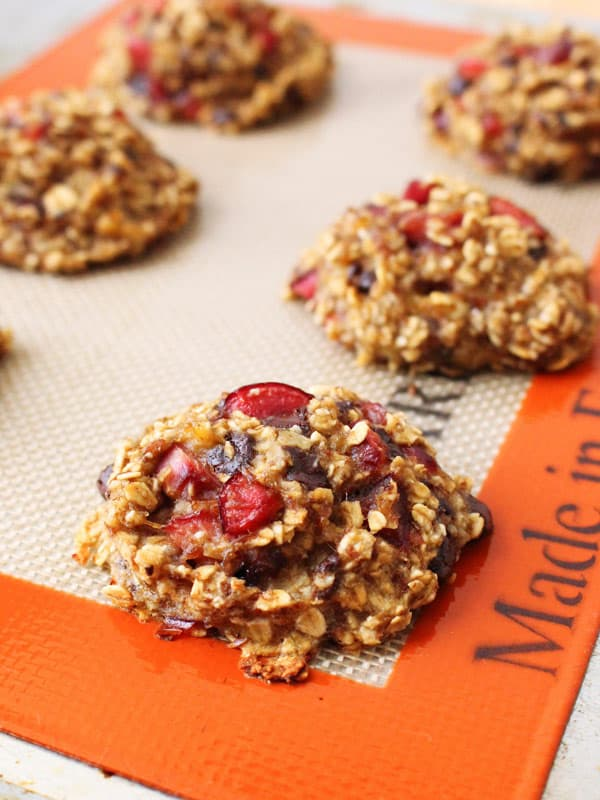 Fresh cherries and dark chocolate are a flavor match made in heaven in these easy toaster oven oatmeal breakfast cookies.