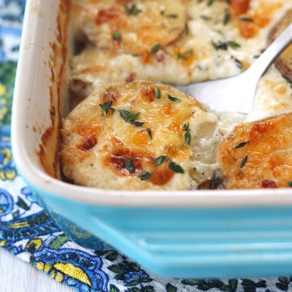 Cheesy toaster oven potatoes au gratin in a baking dish