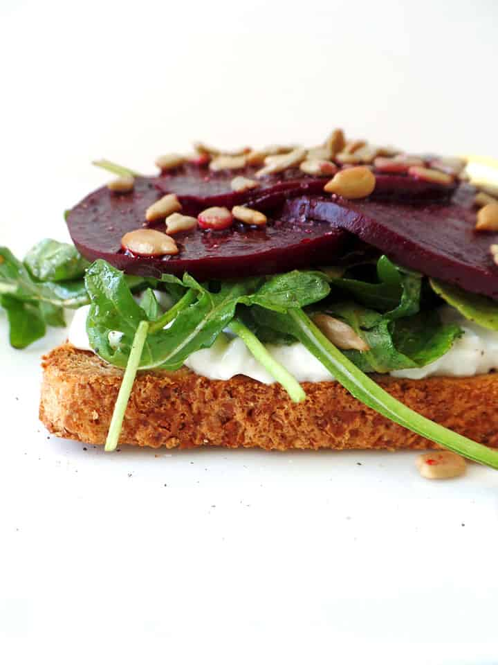 Roasted Beet and Cottage Cheese Toast. A quick and nutritious lunch packed with 15 grams of protein, fresh greens and earthy sweet beets.