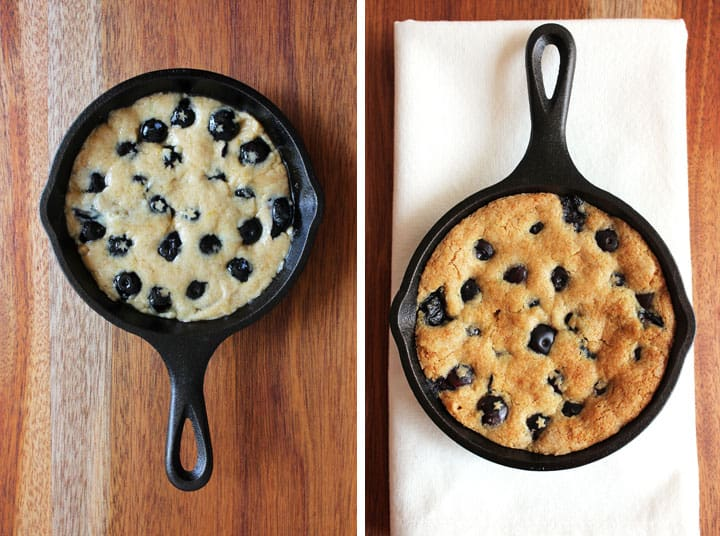 Blueberry Lemon Skillet Cookie for Two. A chewy tart honey lemon skillet cookie filled with juicy fresh berries and topped with a scoop of vanilla ice cream.