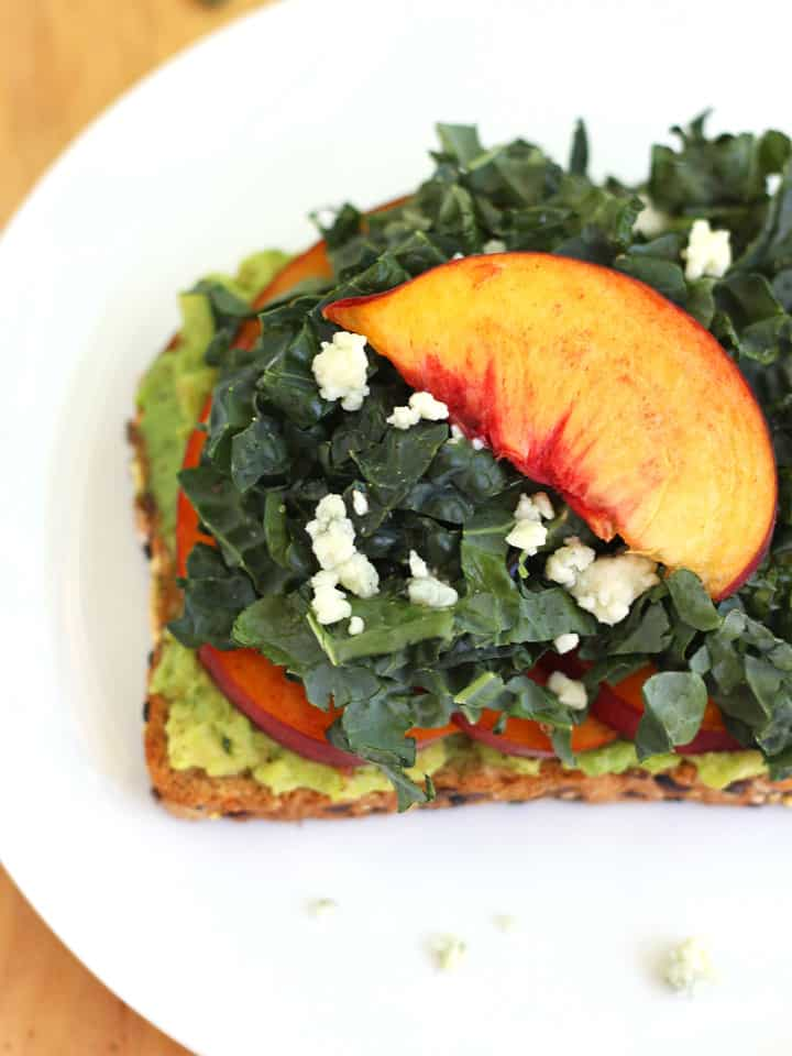 Quick Peach Avocado Toast. A deliciously easy toast features heart-healthy avocado, kale and sweet summer peaches. Under 400 calories and only 10 minutes to prepare!