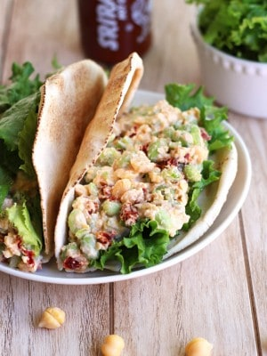 Healthy Toaster Oven Appetizers: Spicy Chickpea Edamame Salad Pitas