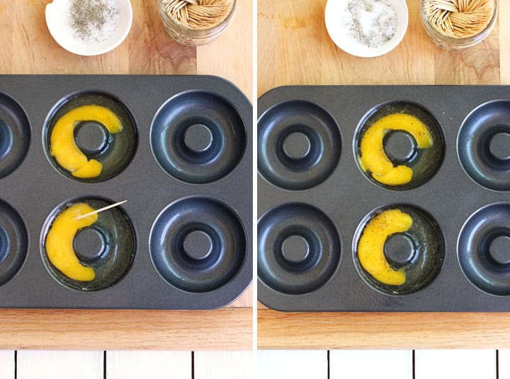 Donut pans aren't just for pastries anymore! Bake up to six donut shaped hard cooked eggs in your oven or toaster oven. Use your fun shaped eggs to make a Hidden-Egg Bagel Sandwich.