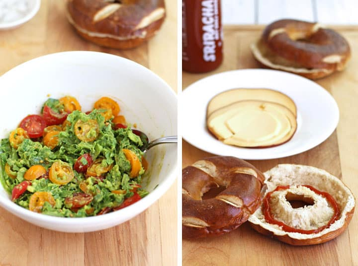 Hidden-Egg Bagel Sandwich. Make a fun and mess-free back to school breakfast or lunch with hard-cooked eggs baked in a donut pan. Stuff eggs into a hollowed out bagel and fill with your favorite veggies, cheese and spicy sriracha sauce.