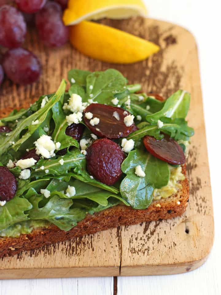 Healthy Toaster Oven Appetizers: Avocado Toast with Balsamic Roasted Grapes