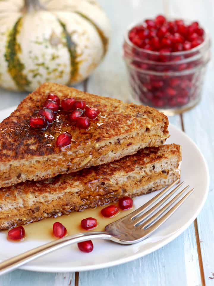 Pumpkin Ricotta Stuffed Maple French Toast. An easy 30 minutes whole grain holiday breakfast for two. Whole grain bread stuffed with chopped dates, pumpkin and ricotta, dipped in a maple custard and fried to sweet perfection.