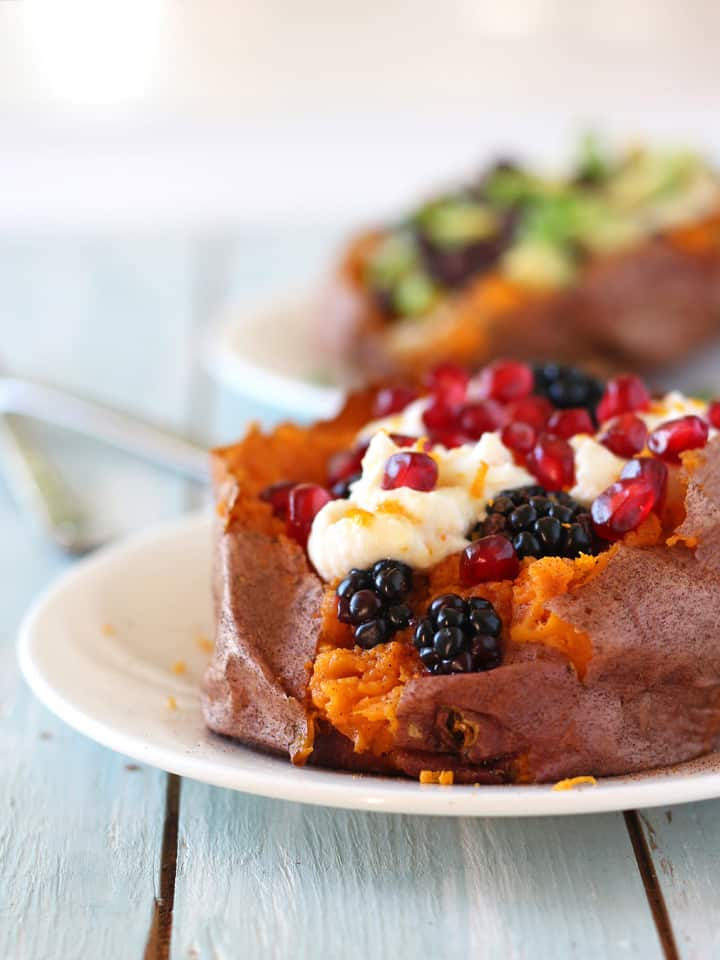 Sweet and Savory Baked Sweet Potatoes. Top a freshly baked sweet potato with ricotta cheese, fresh blackberries, pomegranate seeds and a drizzle of maple syrup for a delicious and healthy meal.
