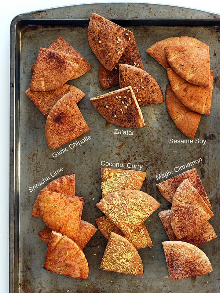 Baked Pita Chips. A healthy snack treat and great potato chip alternative. Try one of our six awesome flavor combinations: Sriracha Lime, Sesame Soy, Coconut Curry, Maple Cinnamon, Za'atar or Garlic Chipotle. Less than 15 minutes for a small batch of specialty baked homemade pita chips.