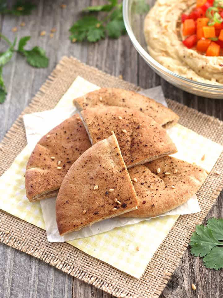 Baked Pita Chips. A healthy snack and great potato chip alternative. Try one of our six awesome flavor combinations: Sriracha Lime, Sesame Soy, Coconut Curry, Maple Cinnamon, Za'atar or Garlic Chipotle.