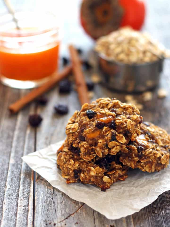 Persimmon Banana Breakfast Cookies. Quick and easy egg-less and dairy-free oatmeal cookies. Sweet Hachiya persimmon pulp, mashed banana and hearty rolled oats in a tasty cookie you can feel good about eating for breakfast.