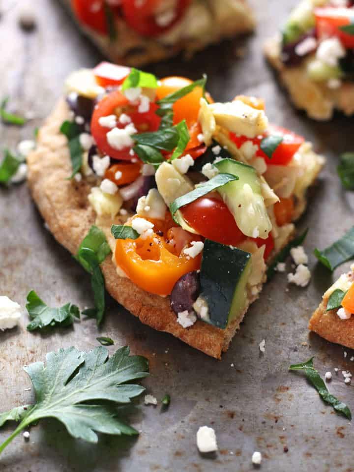 Healthy Toaster Oven Appetizers: Veggie Hummus Flatbread