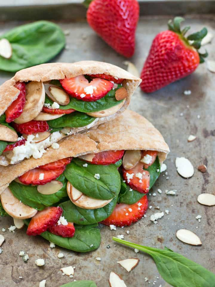 Strawberry Spinach Pita Pockets. The tangy-sweet flavor of your favorite spring salad in a convenient whole wheat pita pocket. Enjoy a strawberry, blue cheese, veggie-filled lunch today!