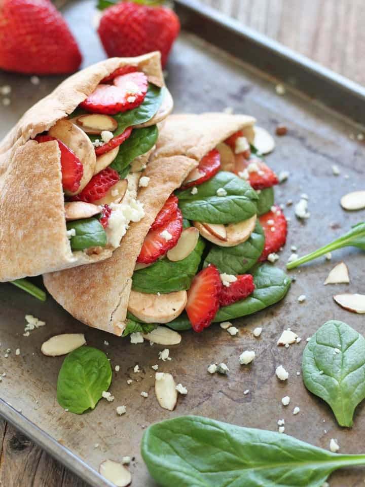 Strawberry Spinach Pita Pockets. The tangy-sweet flavor of your favorite spring salad in a convenient whole wheat pita pocket.
