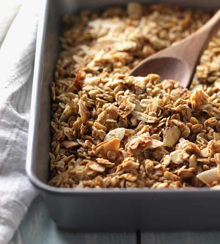 Small Batch Almond Granola. A simple recipe for two cups of maple syrup sweetened almond granola, just enough for one or two people.