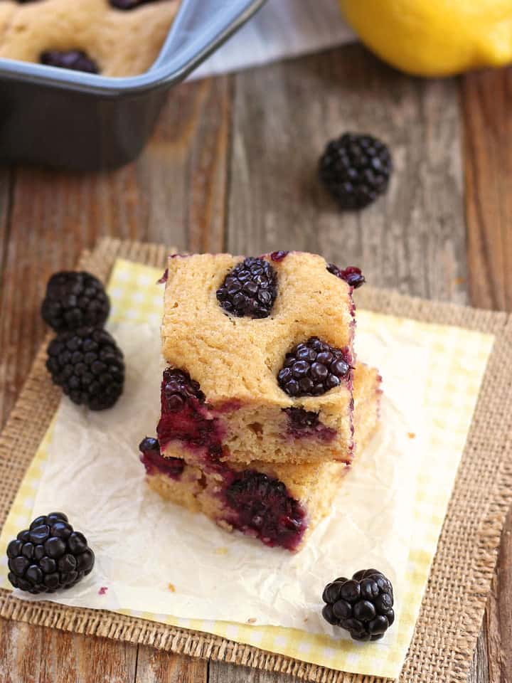 Lemon Blackberry Baked Pancake. A simple toaster oven breakfast of tender lemony baked pancake squares filled with juicy fresh berries.