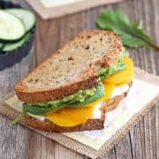 Golden Beet & Avocado Sandwich. Sweet earthy roasted golden beets, creamy avocado, luscious orange flavored ricotta and fresh baby spinach. Enjoy this veggie packed lunch today!