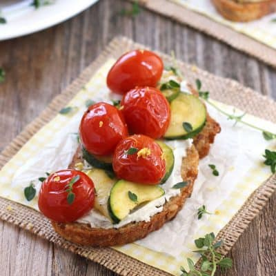 Summer Veggie Crostini with Roasted Zucchini and Tomatoes