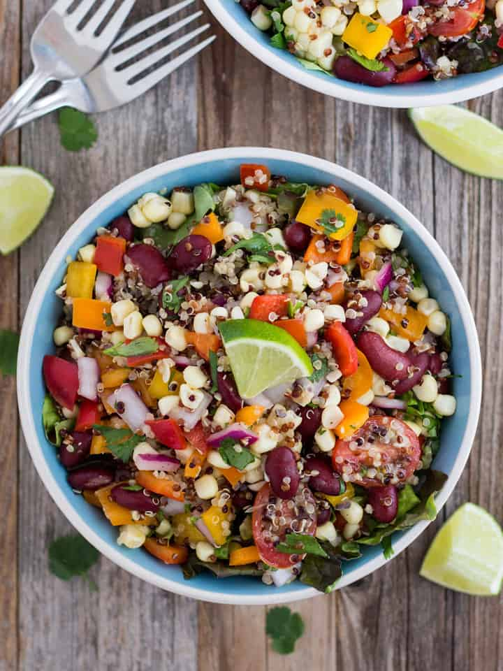 Summer Corn and Quinoa Veggie Salad, a fresh and nutritious summertime meal made with sweet baked corn, crisp veggies, quinoa and kidney beans.
