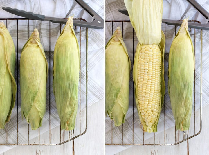 Baked toaster oven corn on the cob is done when the husks are dried out and the corn gives a little when you squeeze it in the middle.
