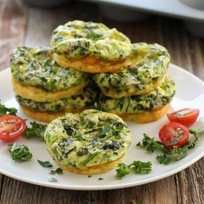 Toaster Oven Egg Muffins With Kale and Feta Cheese