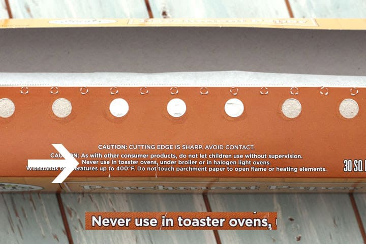 Parchment paper toaster oven warning on box.