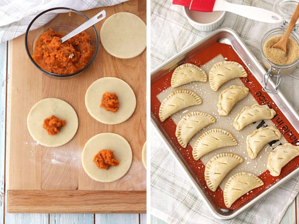 Sweet potato hand pies on a toaster oven baking sheet