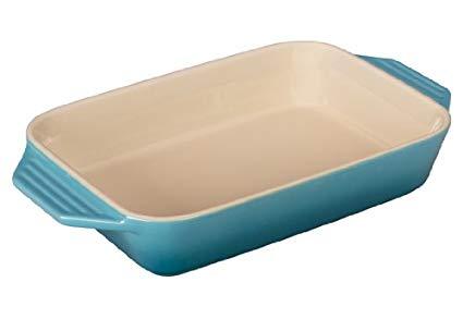 Le Creuset Stoneware Rectangular Dish, 7 by 5-Inch, Caribbean
