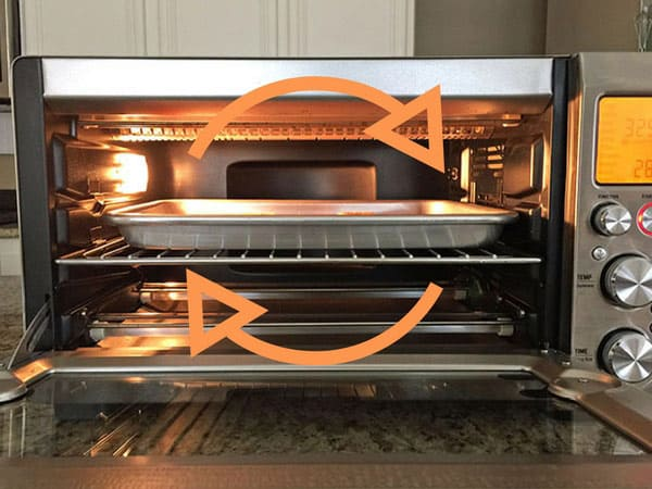 Convection toaster ovens use a built in fan to circulate warm air. The warm air works to cook your food faster and better.
