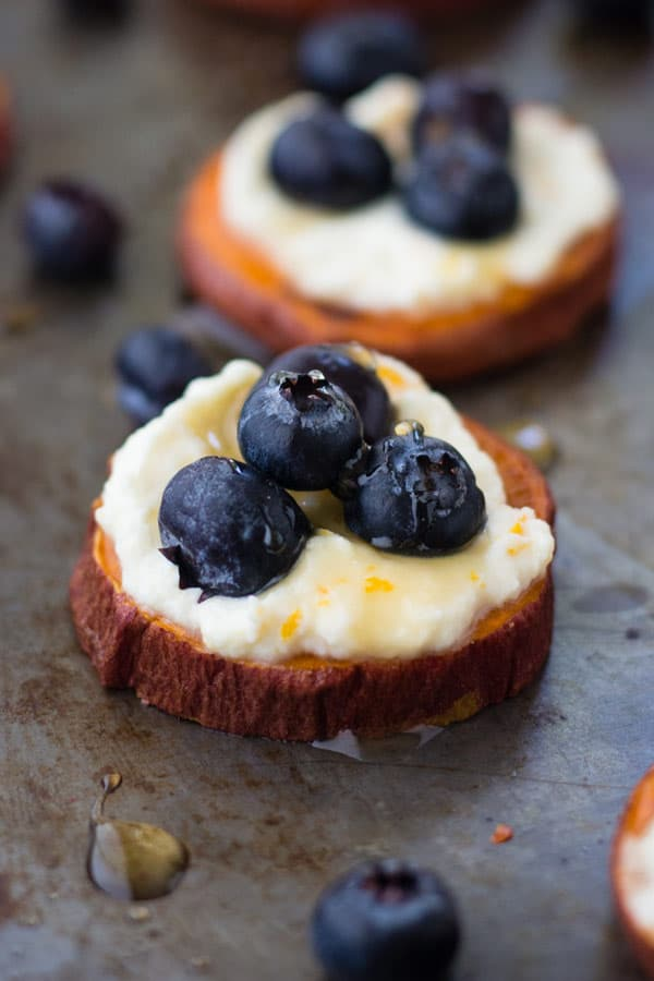 Blueberry Sweet Potato Breakfast Bites are perfect for brunch too! Whip a batch up in just 30 minutes.