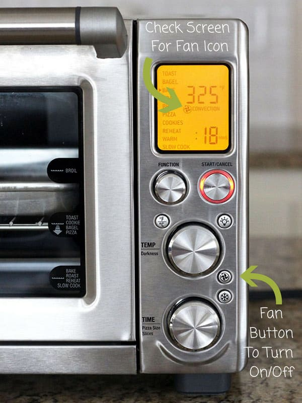 Breville Convection Toaster Ovens will automatically select the fan for certain settings. To deselect the convection setting push the fan button.