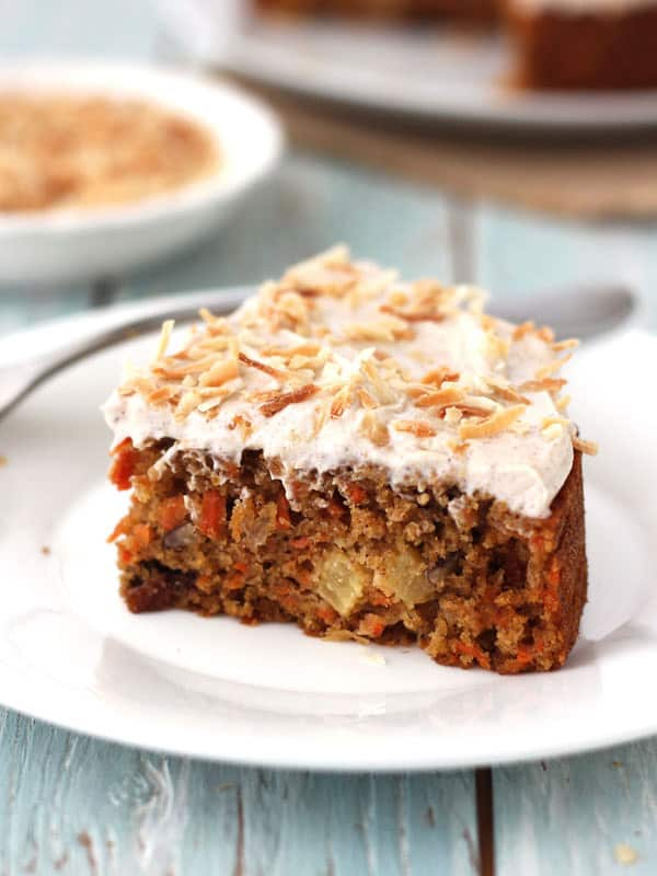 Toaster Oven Carrot Cake is moist, generously spiced, smothered in frosting and sprinkled with toasted coconut. It's the perfect cake for your small Easter dinner.