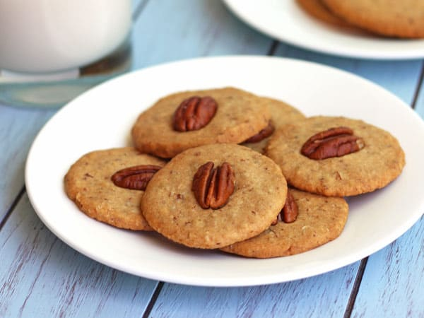 Mini Maple Pecan Cookies are buttery whole grain maple nut cookies you can bake in your toaster oven.