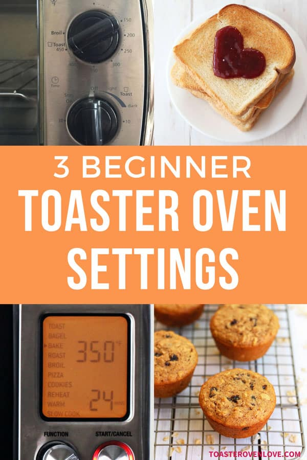 Basic toaster oven settings with toast and muffins.